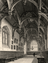 The hall of Wadham College, Oxford, by John Le Keux 1837 old antique print